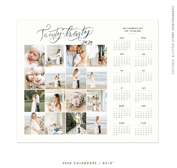 8x10 2020 Calendar Template | Memories Board e1770