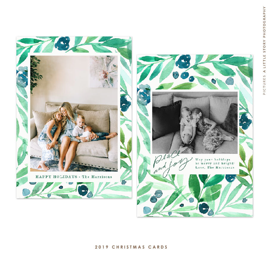 2019 Christmas 5x7 Photo Card | Floral Waters e1783