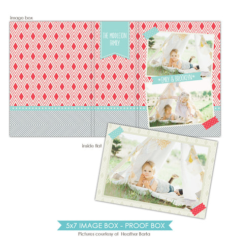 5x7 Image Box | Red and dots e855