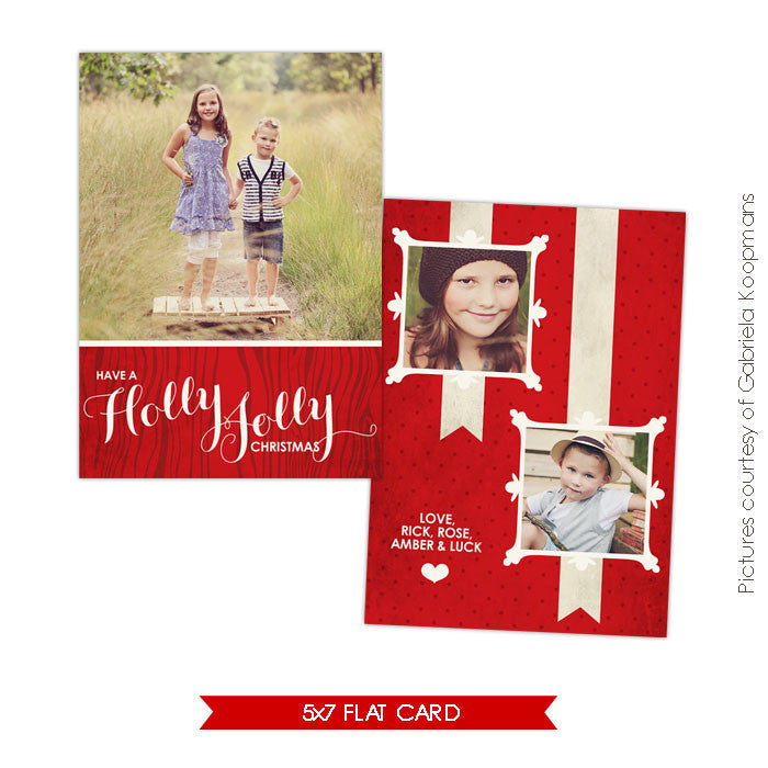Holiday Photocard Template | Holly Kids e556