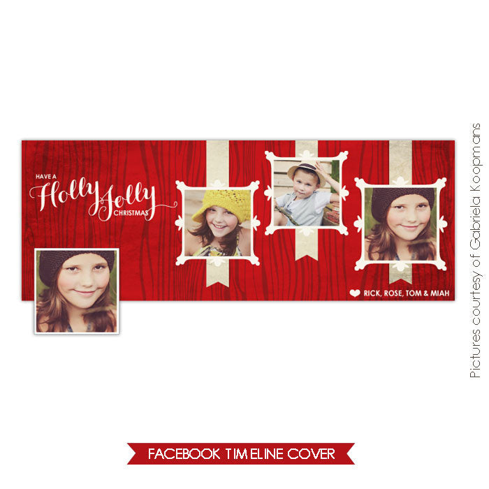 Facebook timeline cover | Holly Christmas e599