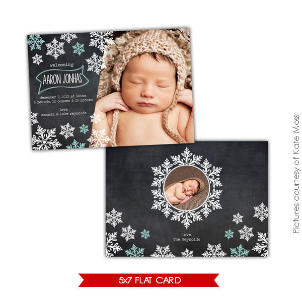Holiday Photocard Template | Snowflakes shower e608