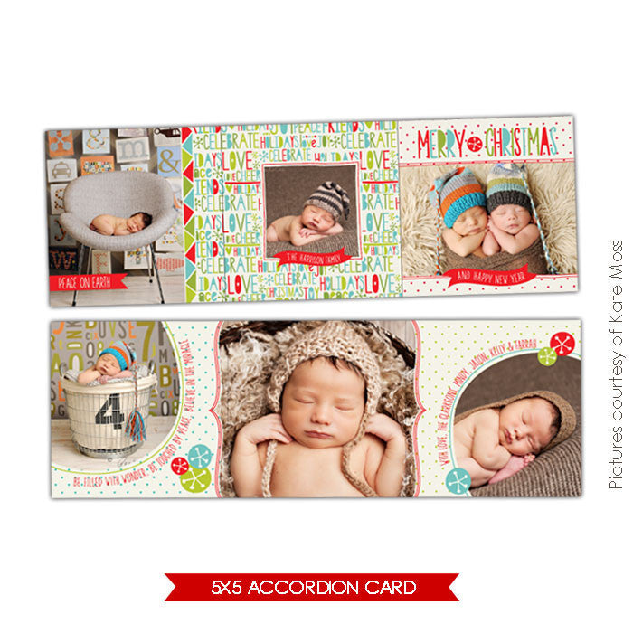Holiday accordion card 5x5 | Celebrate Love e612