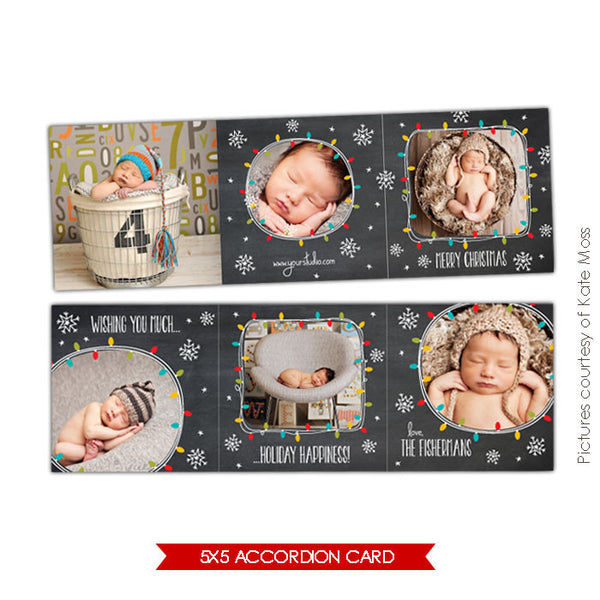 Holiday accordion card 5x5 | Lights & Stars e613