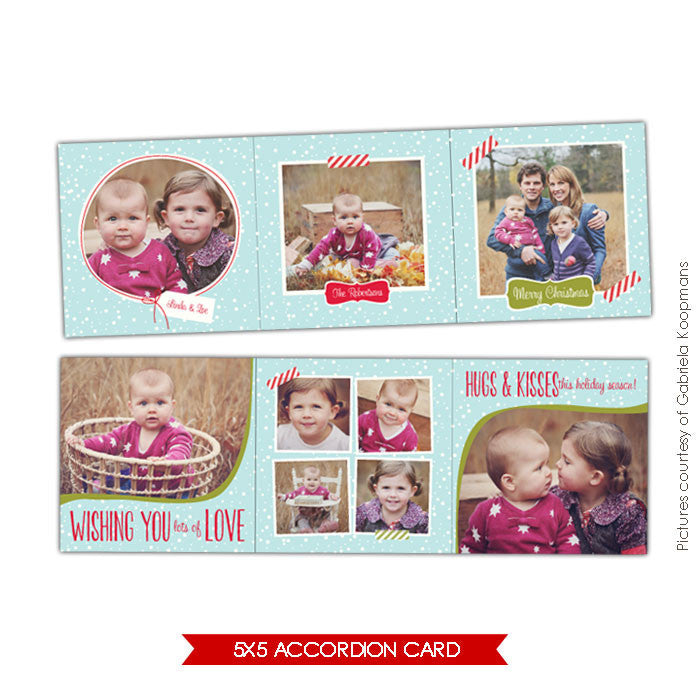 Holiday accordion card 5x5 | Winter charm e614