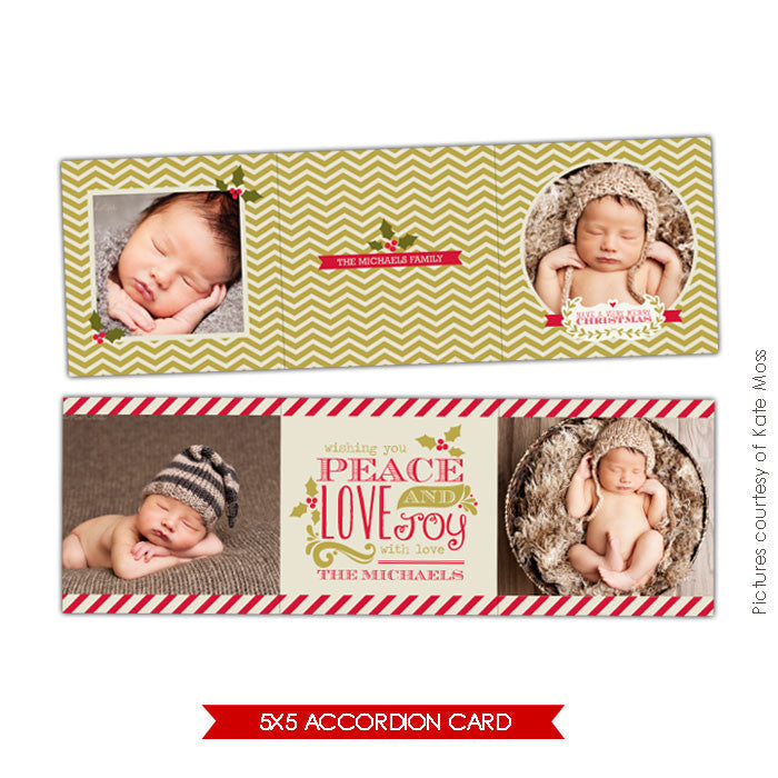 Holiday accordion card 5x5 | Mint chevron e615