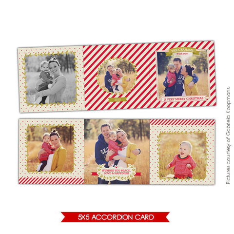 Holiday accordion card 5x5 | Vintage moments e616