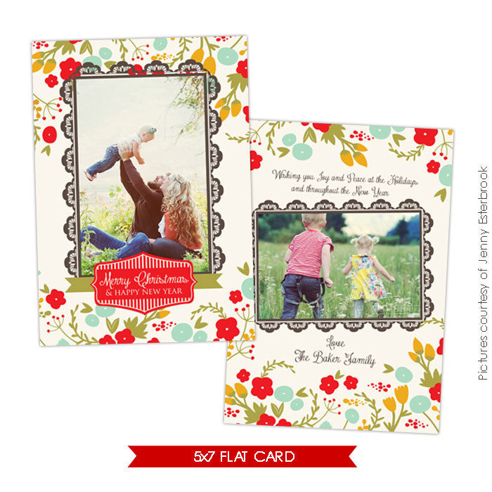 Holiday Photocard Template | Romance garden e622