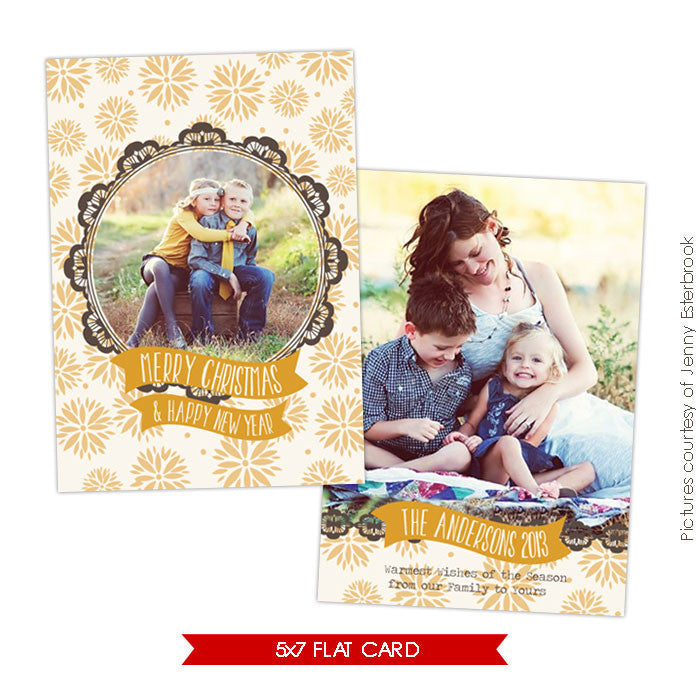 Holiday Photocard Template | Golden portrait e623