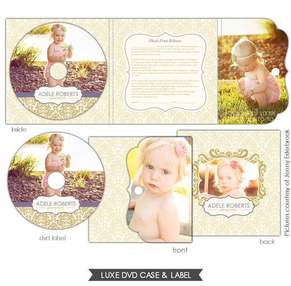 Luxe DVD case and DVD label | Purple & Gold e629