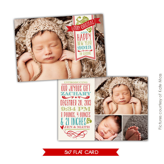 Holiday Birth Announcement Template | Christmas dream e631