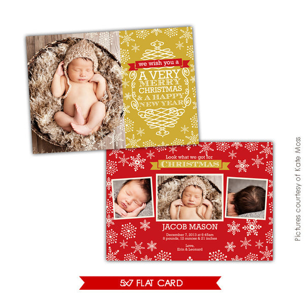 Holiday Birth Announcement Template | Golden snowflakes e633
