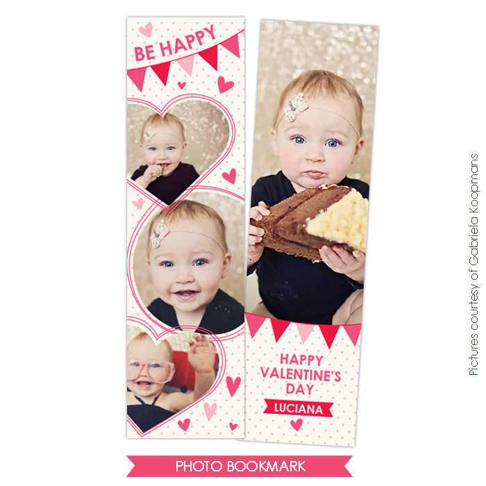 Valentine Bookmark template | Be Happy e672