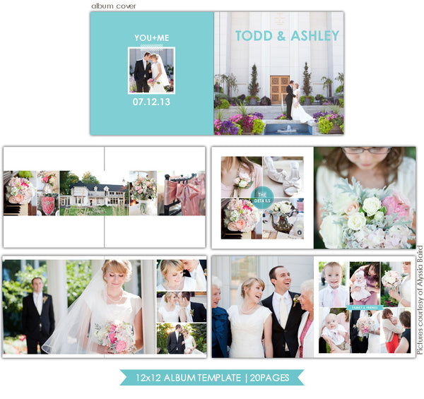 Clean Style | 12x12 Wedding Album template e725