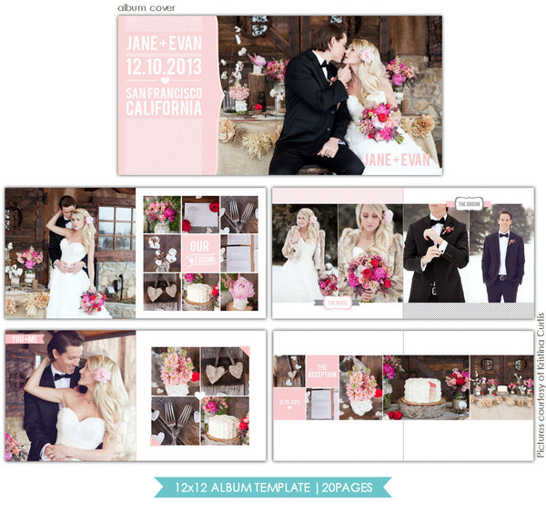 Heartfelt Love | 12x12 Wedding Album template e724