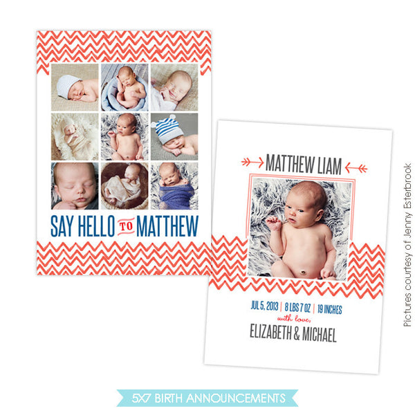 Birth Announcement | Watercolor chevron e761