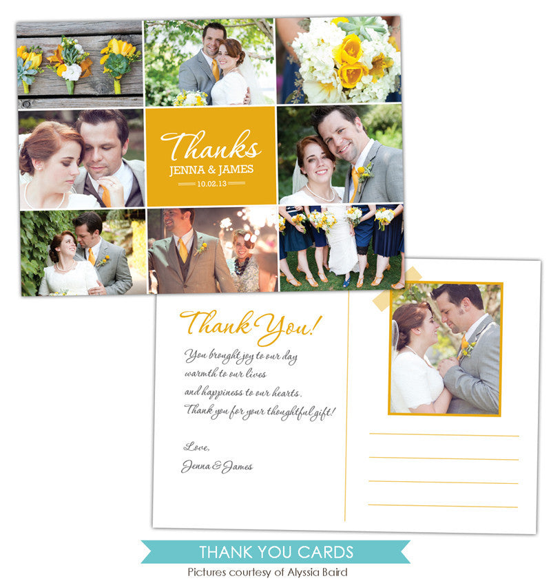 Wedding Thank You Card | Gold love e849