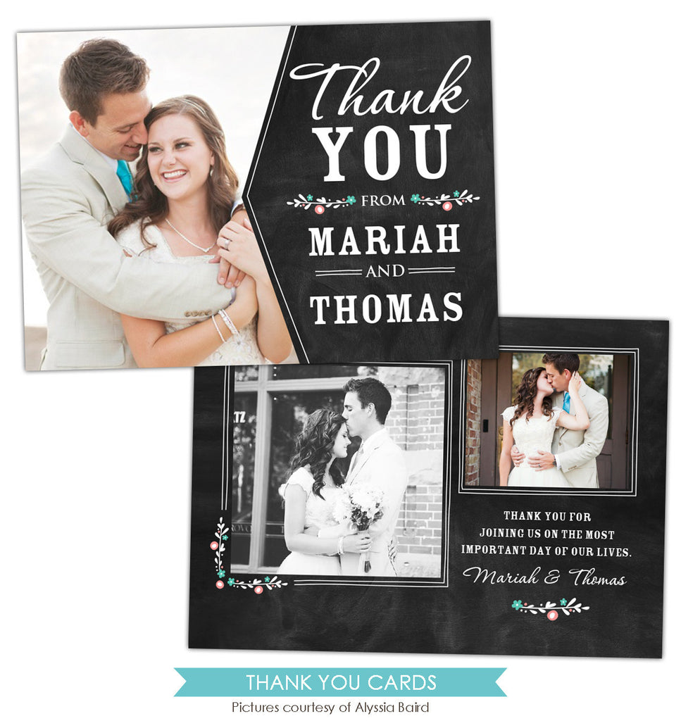 Wedding Thank You Card | Chalkboard tag e851