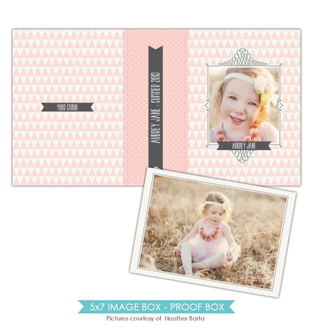 5x7 Image Box | Pink triangles e856