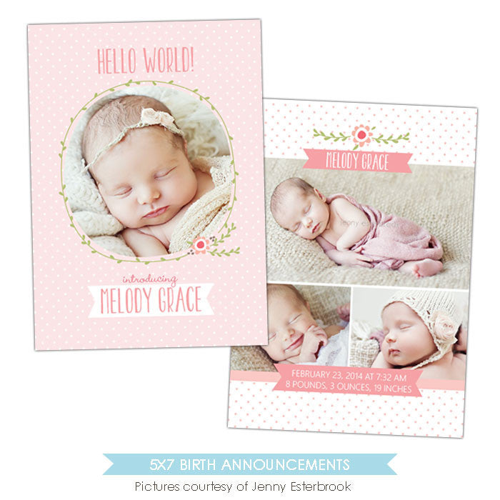 Birth Announcement | Flower kisses e897