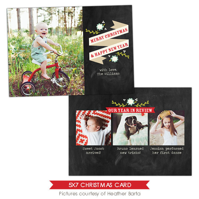 Christmas Photocard Template | Year in review e912