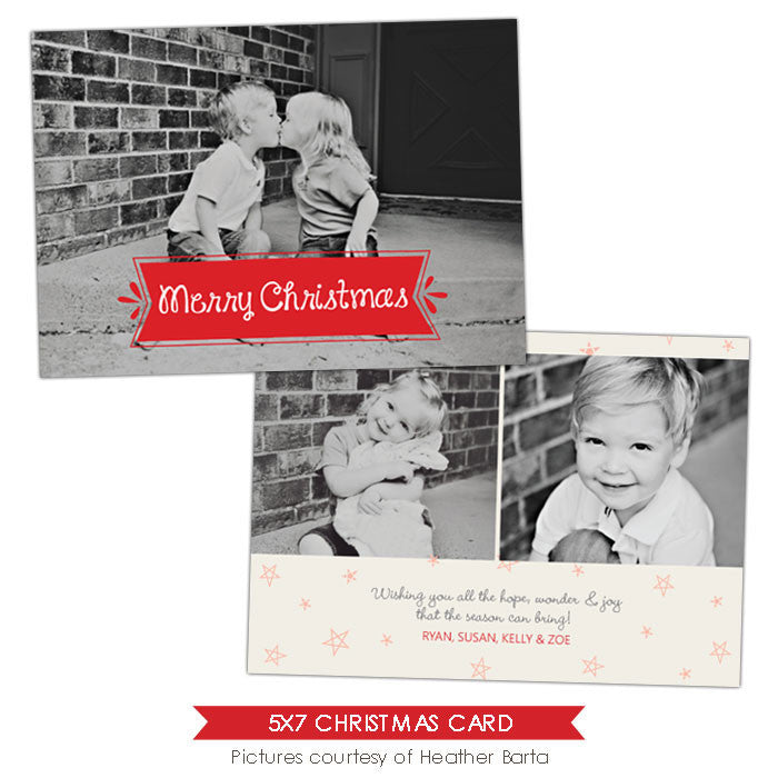 Christmas Photocard Template | Stars pattern e914