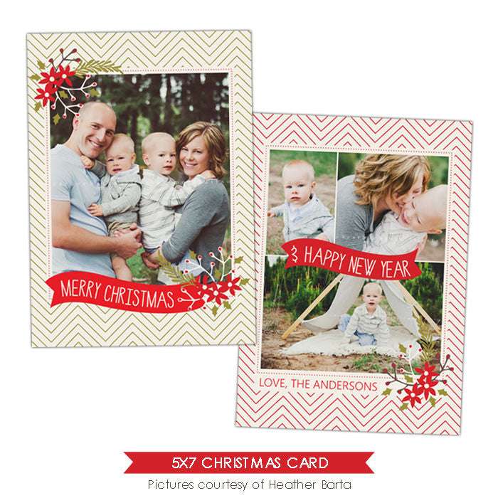 Christmas Photocard Template | Mistletoe frame e915