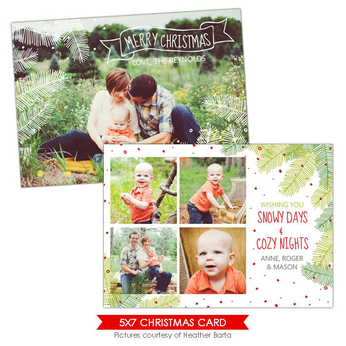 Christmas Photocard Template | Christmas tree e917