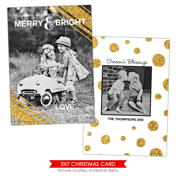 Christmas Photocard Template | Gold Glam e918