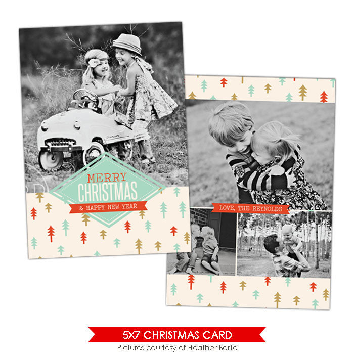 Christmas Photocard Template | Retro forest e926