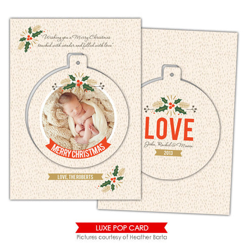 Christmas Luxe Pop Card Template | Mistletoe circle e941