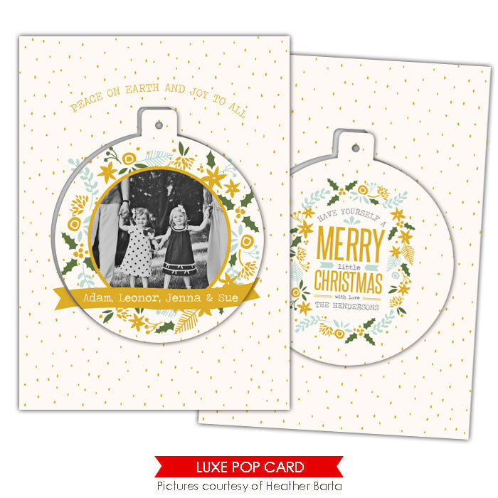 Christmas Luxe Pop Card Template | Gold flowers e944