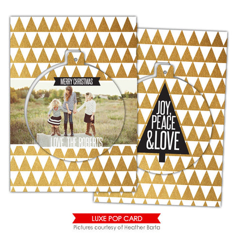 Christmas Luxe Pop Card Template | Gold triangles e947