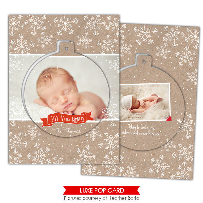 Christmas Luxe Pop Card Template | Snowflakes circle e948