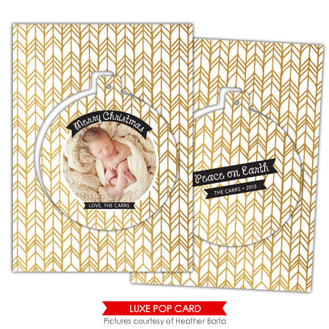 Christmas Luxe Pop Card Template | Gold arrows e949