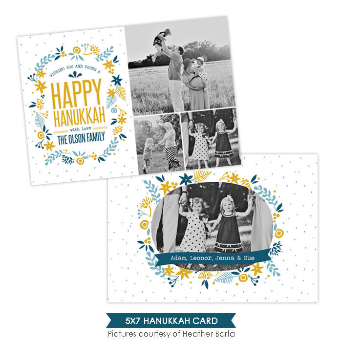 Hanukkah Photocard Template | Blue flowers - e958