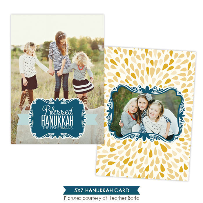 Hanukkah Photocard Template | Blue ornaments - e960