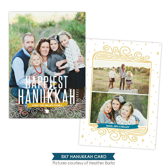 Hanukkah Photocard Template | Hanukkah lights - e962