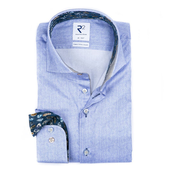 R2 Blue Shirt With Feather Trim