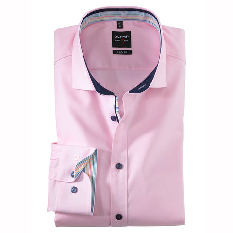 Olymp Level 5 Body Fit Pink Shirt