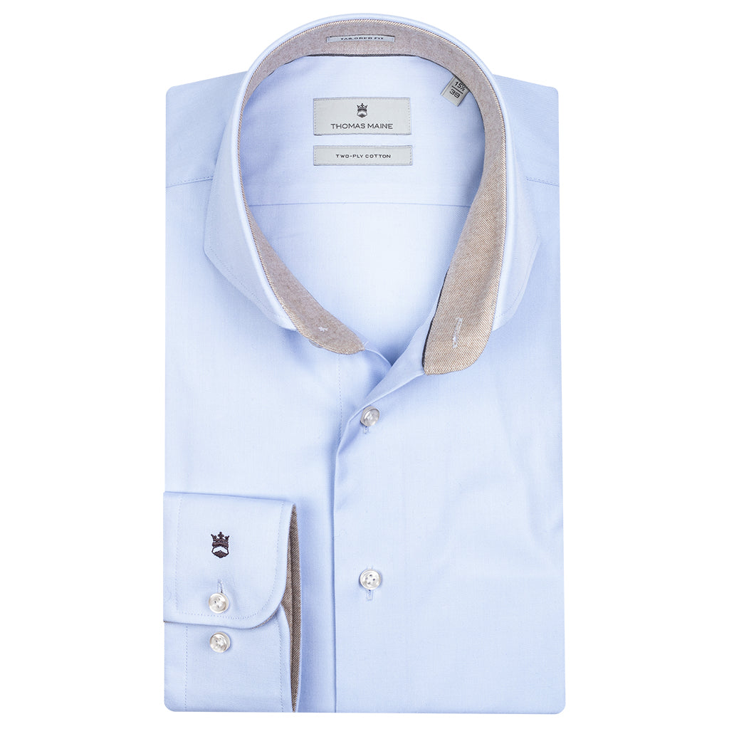 Pale Blue Shirt With Trim