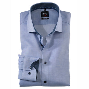 Olymp Level 5 Body Fit Blue Shirt