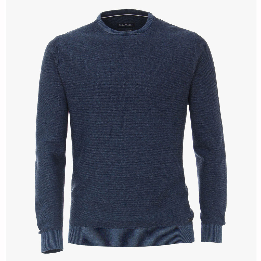 Denim Blue Wool & Cashmere Crew