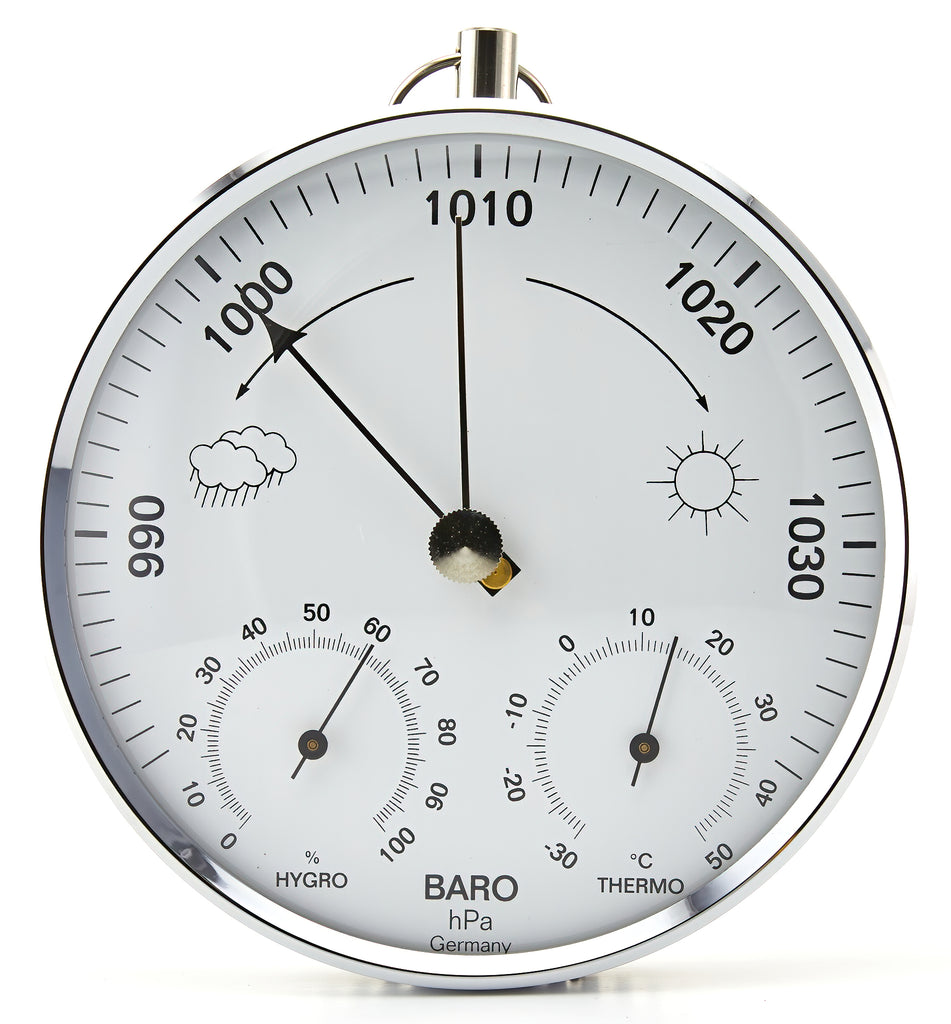 Barometer with Temperature and Humidity, Chrome
