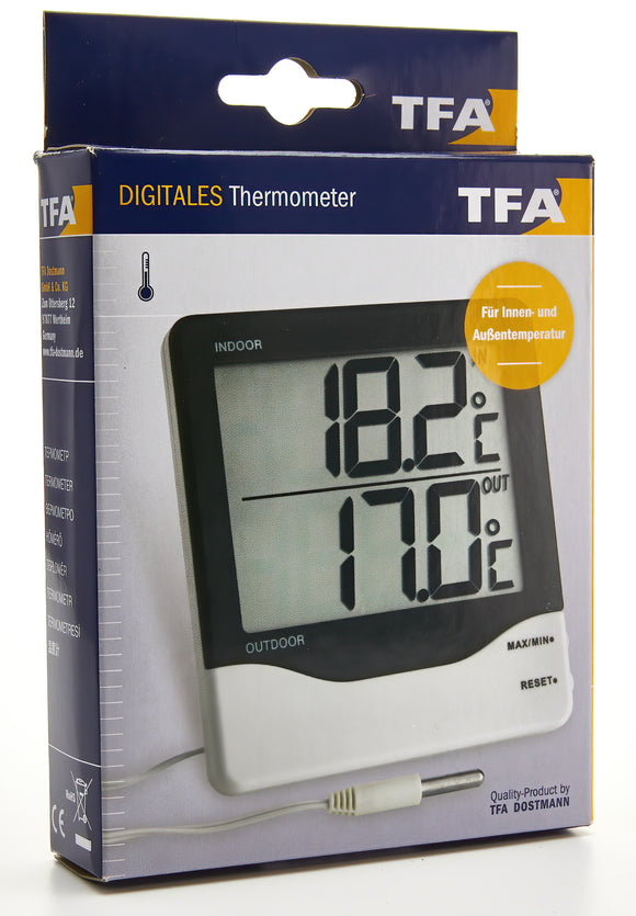 Cabled Large Screen Digi In/Out Thermometer