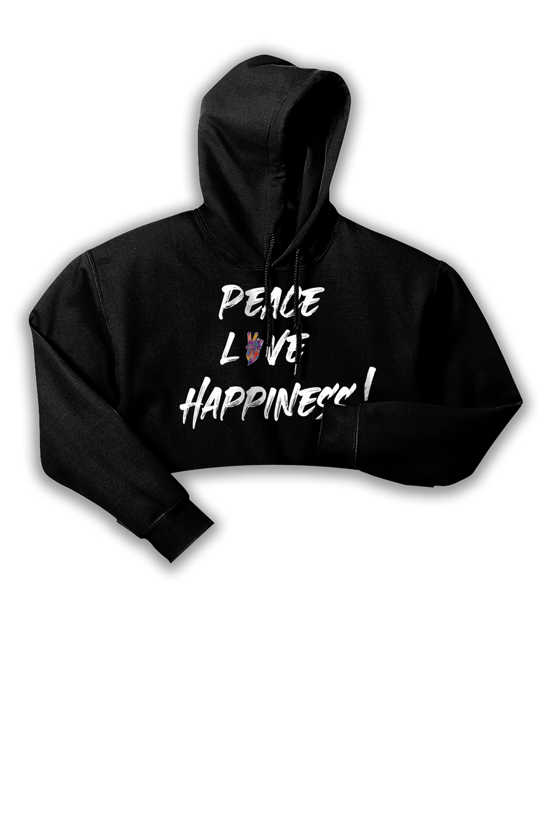 PEACE, LOVE  & HAPPINESS CROP HOODIE