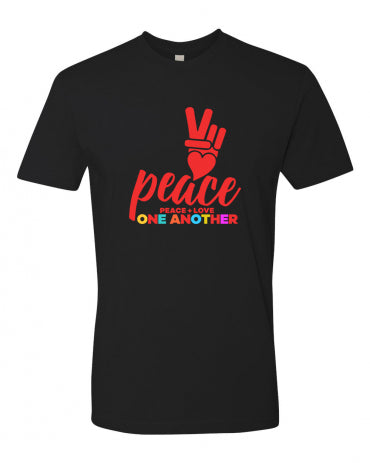 Unisex Cotton T-Shirt  - PEACE + LOVE ONE ANOTHER