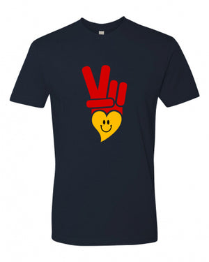 Unisex Cotton T-Shirt  - PEACE LOVE AND HAPPINESS