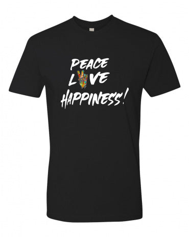 PEACE, LOVE, & HAPPINESS EXCLAMATION LOGO T-ShIRT