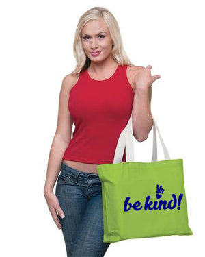 PEACE and LOVE COTTON CANVAS BE KIND TOTE